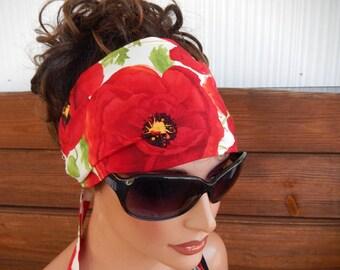 Womens headband Fabric headband Summer Fashion Accessories Women Head scarf Yoga headband Headwrap White in Red Poppy Print