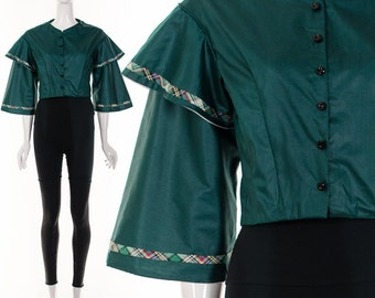 Rare 70s Jade Green Crop Top Rare Angel Sleeves Cropped Jacket Avant Garde Button Up Jacket Festival Crop Top Gypsy Bohemian Crop Top XS S