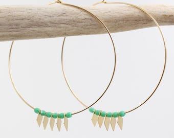 NATIVE HOOP EARRINGS // Turquoise Hoops - Gold Hoops - Thin Gold Hoops - Lightweight Hoop Earrings - Teal Beaded Earrings