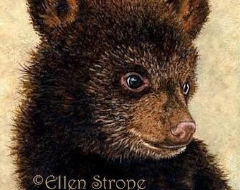 PRINT, bears, cub, brown, black bear, Giclee, wildlife, cabin decor, lodge decor, bear cub, miniature prints