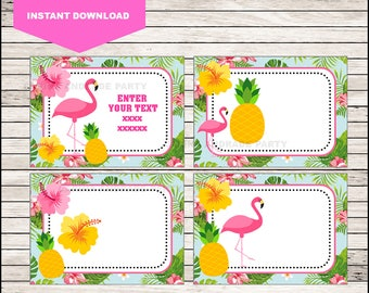 Flamingo Printable Cards, tags, book labels, stickers, kids cards, gift tags, labeling, scrapbooking EDITABLE INSTANT DOWNLOAD