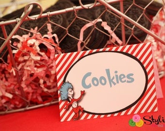 Thing 1 Dr Seuss Food Labels Tent Cards