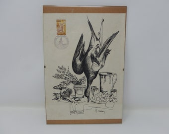 Sologne stamp painting with drawing by Huguette Soinson, free shipping