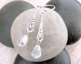 Art Deco Crystal Earrings - Crystal Art Deco Earrings - Vintage Style Crystal Earrings - Crystal Dangle Earrings - Dainty Crystal Earrings