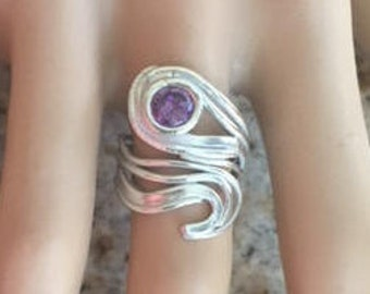 Item 183 999 Fine and 925 Sterling Silver Unique Handcrafted Sculpted  One of a Kind Gift for Her Adjustable Ring Size 6-8.5 Amethyst CZ