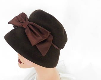 vintage 1960s hat, woman's brown bucket with satin bow