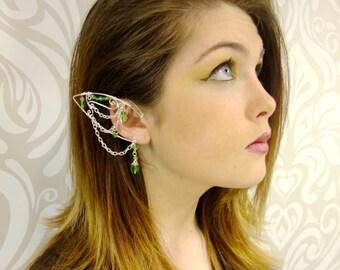 Elf Ear Cuffs, Silver and Green, Elven Jewelry, Elf Ear, Forest Elf, Wood Elf, Elf Queen, Fairy Ear Cuff, Silver Cuff, Green, Cosplay