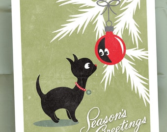 Christmas Kitty / Black Cat / Vintage Style Christmas Cards / Unique Holiday Cards / Seasons Greetings / Set of 15 Holiday Cards