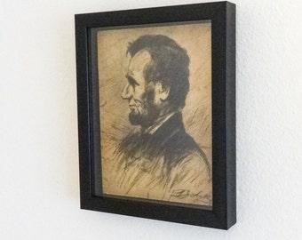 President Abraham Lincoln Portrait Original Pen Ink Drawing Framed Political  Art
