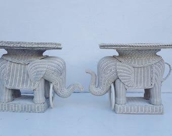 Italian Woven Rattan  Elephant Side Tables A Pair.