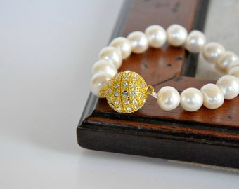 New Season Ivory Fresh Water Pearl Bracelet with Crystal Clasp Brides Bridesmaids