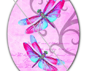 18x25cm, dragonflies, a pink background
