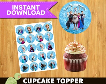 FROZEN Cupcake Toppers - Frozen Party Package - Frozen Printable Party Circles