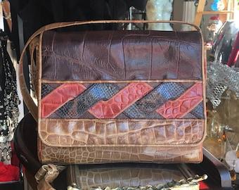 "Vintage Patchwork Leather Handbag, Crossbody Bag, ""Sharif"""