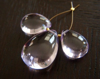 Glowing Pink Amethyst Drops - Trio - 13.5 to 19mm