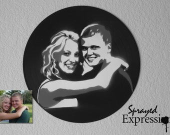 Customizable Couples Portrait Spray Paintings on Upcycled Vinyl Record - Made to Order