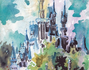 Cinderella's Castle - Print of Disney World - Reproduction of Original Watercolor and Ink Drawing by Jen Tracy
