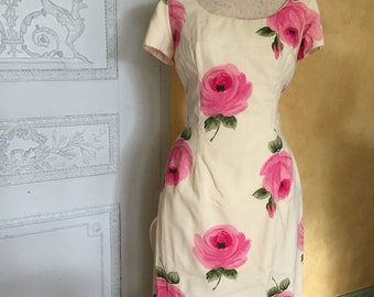 RESERVED 1950s wiggle large pink floral dress madmen style