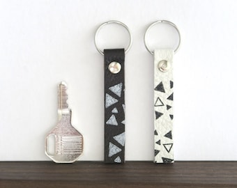 Leather Key Fob, Geometric Leather Key Ring, Black and White Key Holder, Gift for Coworker, Gift for Him or Her