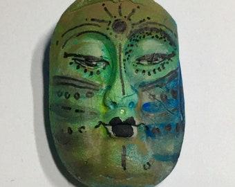 Handmade ceramic clay face sun tribal mask child spirit woman  dolls doll parts head head  jewelry craft supplies  handmade clown cabochon