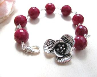 Romantic bracelet, Flower bracelet, Burgundy bracelet, Burgundy beads, Red grape bracelet, Romantic jewelry, Bracelet with flower,