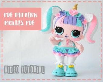 "Patrón de muñeca Lol Surprise Unicornio 30cm - Pdf Lol surprise 11"""