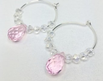 Pink Crystal Hoop Earrings Bridesmaid Earrings Wedding Set Pink Crystal Earrings Bridesmaid Gift Baby Pink Earrings Beaded Jewelry