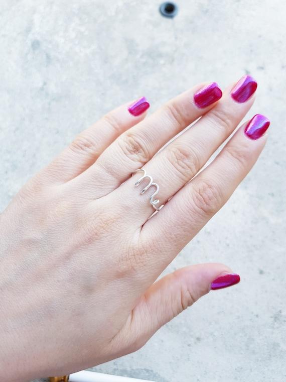Ersten Ring Buchstabe m Ring personalisierte Draht erste Ring