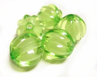 20PC Pumpkin Transparent Green Acrylic Beads-9596