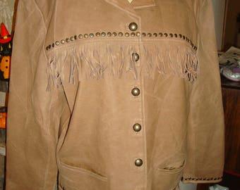 Santa Fe Leather Fringe Tan Southwestern Boho western Jacket M