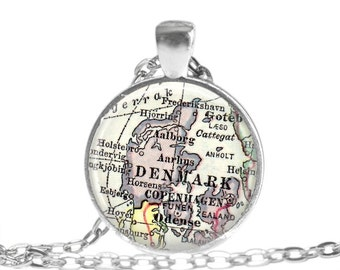 Denmark necklace pendant charm, Copenhagen map jewelry charms,  Danish Jewelry,  Denmark gift for him, grandparent gift, husband gift, A170