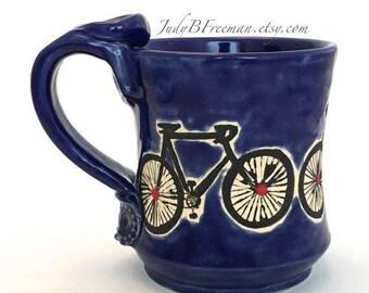 Ceramic Bicycle Mug Handmade with Red Dots Made to Order MG0062