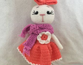 Amigurumi lady Bunny white with flower dress CE tested