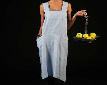 Linen square-cross apron / Linen pinafore / Washed long apron / Japanese style apron / greyish blue