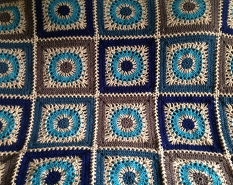 Bohem Granny Square Crocheted Afghan Blanket Brown, Turquoise  Free Shipping USA