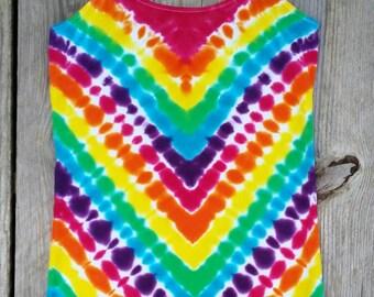 Bright Rainbow Tie Dye Tank Top, Juniors Size Small (3-5), Womans Cami, Hippie Top, Ready to Ship, Yoga Tank, Womens Tie Dye, Tie Dye