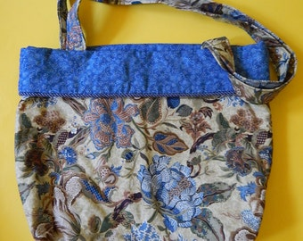 "12"" x 12"" x 5"" Reversible Cotton Quilted Floral Blue Shoulder Tote Diaper Bag"