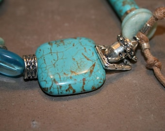 BUBBLING BLUE Turquoise, Glass, Coral, Leather and Sterling Bracelet