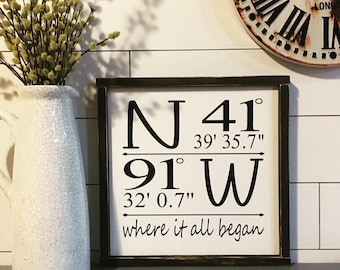Longitude Latitude Sign, Coordinates, Farmhouse, Farmhouse Decor, Custom