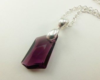 Amethyst Necklace February Birthstone Pendant Sterling Silver Purple Crystal Necklace