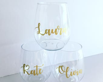 Personalized Stemless PLASTIC Wine Tumbler - Bridal, Bachelorette - Shower - Tossware - Personalized Stemless Wine - Party cup - Wine