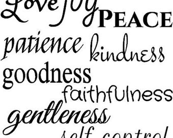 Fruits of the spirit vinyl decal  - Fruits of the Spirit Decal - Fruits of the Spirit Wall Decal - love joy peace patience goodness