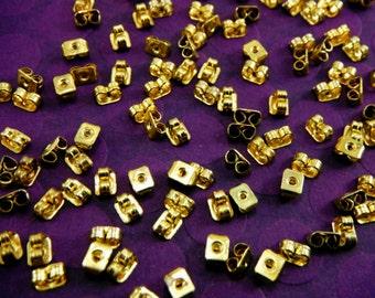 50 Gold Butterfly Earnuts For Post Earrings Backs 6x4mm