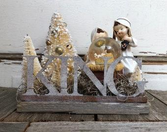 AG créations Noël Decor – petit bébé Jésus Nativité-boule à neige roi Display