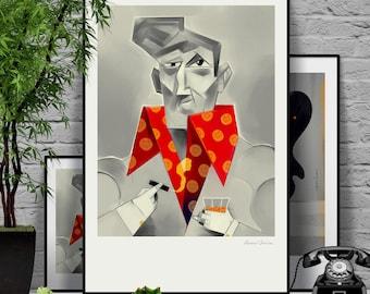 Mr. Young. Original illustration art poster giclée print signed by Paweł Jońca.
