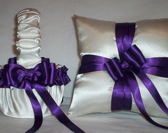 Ivory Cream Satin With Regency Purple Ribbon Trim Flower Girl Basket And Ring Bearer Pillow