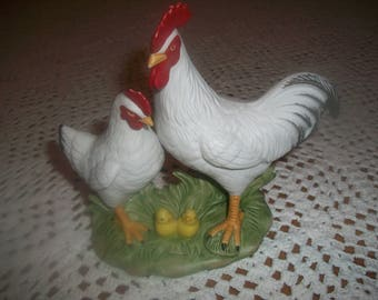 Rooster, Hen and Chicks Porcelain Figurine # 1458