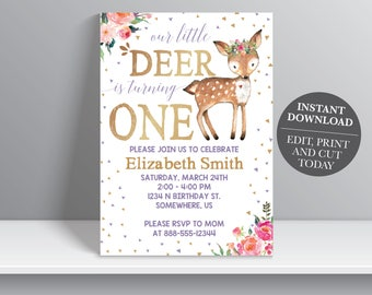 INSTANT DOWNLOAD - Deer Birthday Invitation, Our little deer first birthday, Woodland Birthday Invitation, Girl Birthday Invitation, One,