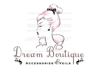 Dream Boutique OOAK Character Illustrated Premade Logo design-Will not be resold- Fashion Boutique
