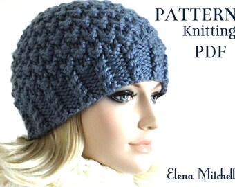 Knitting Pattern Hat Knit Beanie Pattern Women Hat Pattern Girls Beanie Knitted Beanie Pattern Womens Accessories Knit Hat Pattern PDF